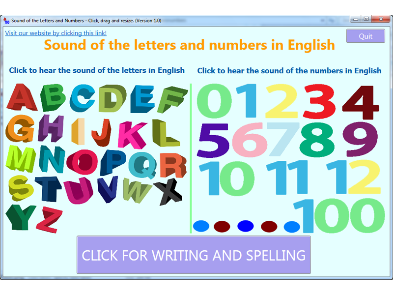 Click numbers and letters to hear their sound